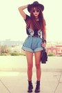 Sky-blue-high-waisted-oasap-shorts-black-magnetic-romwe-bracelet