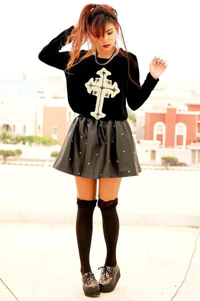 black OASAP shoes - black Romwecom dress - black suspender Romwecom tights