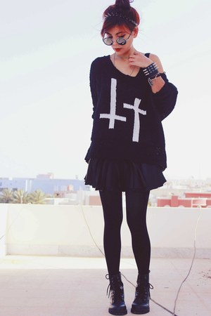 black skater motelrocks dress - black inlovewithfashion jumper