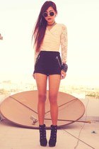 cream lace vintage top - black Forever 21 boots - black H&M shorts