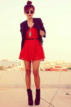 red lace Dahlia dress - black leather Topshop jacket - silver owl OASAP necklace