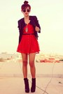 Red-lace-dahlia-dress-black-leather-topshop-jacket-silver-owl-oasap-necklace