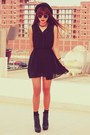 Black-chiffon-h-m-dress-black-topshop-hat-black-spikes-oasap-necklace