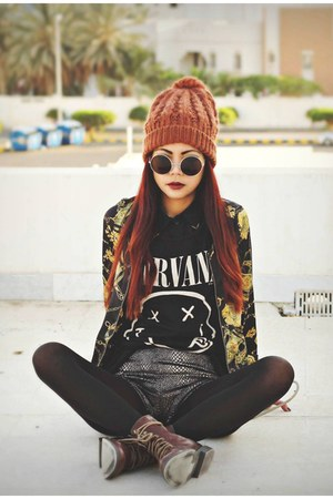 black nirvana H&M t-shirt - dark brown H&M boots - yellow Romwecom jacket