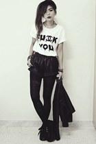 black creepers choiescom shoes - black leather Sheinsidecom shorts