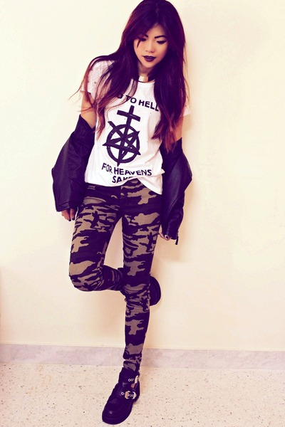 white printed Sheinsidecom t-shirt - black platform luluscom boots