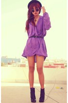 purple wrap inlovewithfashion dress - black Bershka boots