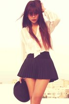 black pleated OASAP skirt - black Forever 21 boots - black bowler Topshop hat