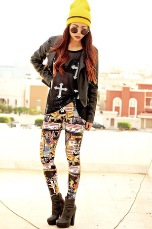 black leather Sheinside jacket - yellow kukulkan Lovelysally leggings