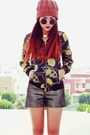 Black-romwe-jacket-dark-brown-romwe-shorts