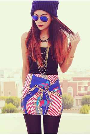blue genoa Lovelysally skirt - gold gold chain Sheinside necklace
