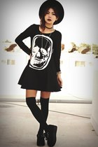 black creepers choiescom shoes - black skull gauze choiescom dress