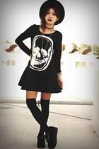 black creepers choiescom shoes - black skull gauze choiescom dress