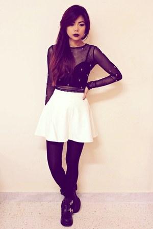 black platform luluscom boots - white studded leather Motelrockscom skirt