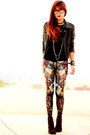 Black-leather-sheinside-jacket-dark-brown-blackmilkclothing-leggings
