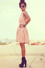 Pink-clubcouture-dress-black-forever-21-boots-black-romwe-bracelet