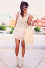 Cream-lace-up-sammydresscom-boots-cream-tassel-sammydresscom-bag