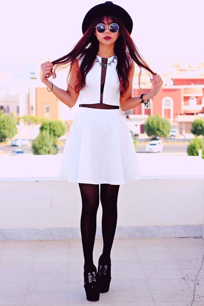 white love marcella InLoveWithFashioncom dress - black wide brim Oasapcom hat