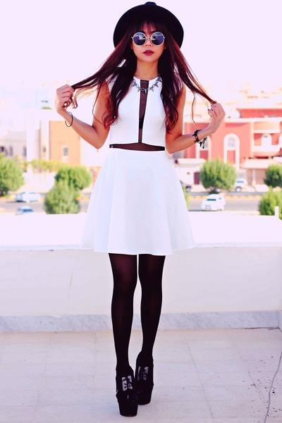 white love marcella InLoveWithFashioncom dress - black wide brim Oasapcom hat