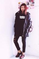 crimson flats Fashion71net shoes - black Romwecom coat