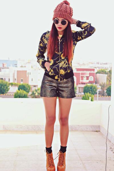 gold Romwecom jacket - dark brown Romwecom shorts