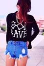 Black-god-save-print-romwecom-t-shirt-navy-velvet-sammydresscom-blazer