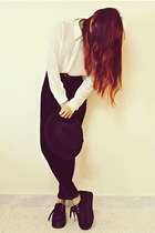 black creepers choiescom shoes - black Oasapcom hat - white choiescom shirt