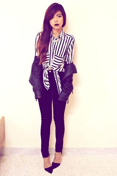 white stripes choiescom shirt - black leather Sheinsidecom jacket