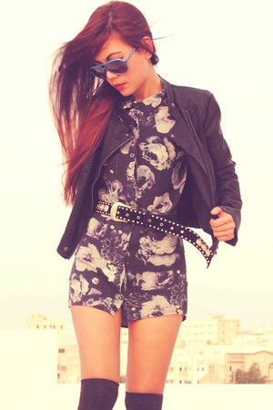 navy H&M shirt - black Skechers shoes - black leather Topshop jacket