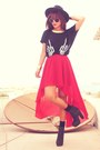 Gold-madlady-earrings-black-romwe-top-red-romwe-skirt