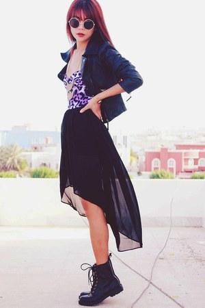 purple dip hem motelrocks dress - black leaather Sheinside jacket