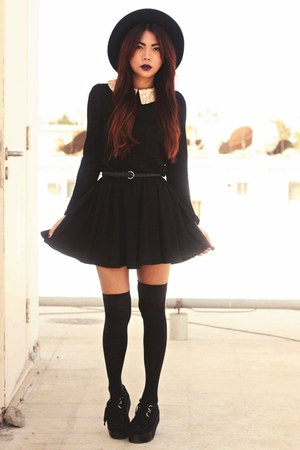 black creepers choiescom shoes - black sequined collar Sheinsidecom dress
