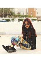black buckle ankle yeswalker boots - gold egypt blackmilkclothing leggings