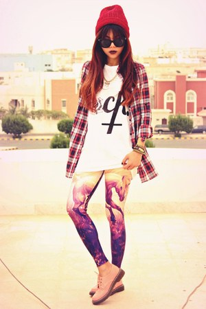 purple unicorn LOVELYSALLYCOM leggings - ruby red checkered Romwecom shirt