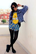 blue studded denim choiescom jacket - blue simpson print choiescom shorts