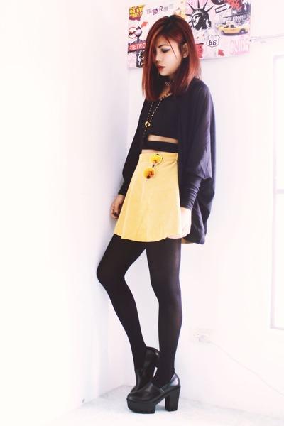 black Fashion71net shoes - black Romwecom necklace - light orange Romwecom skirt