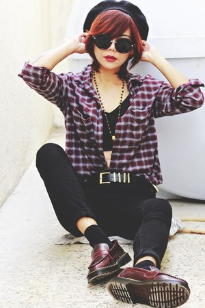 crimson plaid shirt OASAP shirt - crimson martens Fashion71 shoes