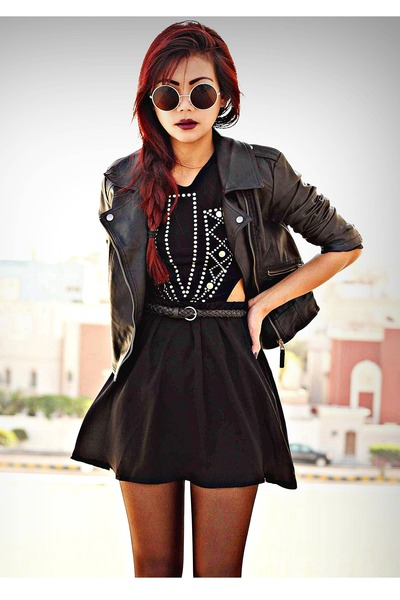 black inlovewithfashion dress - black leather Sheinside jacket