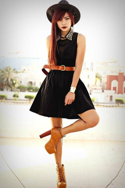 black lace Sugarlips dress - tawny litas gifted boots