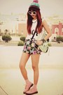 Pink-flat-lace-up-choiescom-shoes-black-floral-luccacouturecom-shorts
