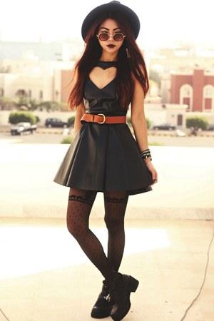 black platform luluscom boots - black vegan leather luluscom dress