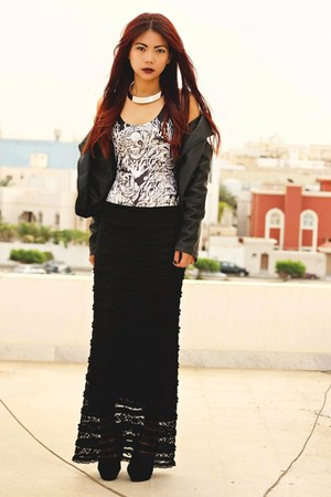 black long lace Cozbest skirt - black leather Sheinside jacket