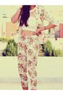 Red-floral-sheinsidecom-blazer-white-lace-bandeau-romwecom-top