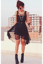 black romwe dress - black round romwe glasses - black punk spike OASAP necklace