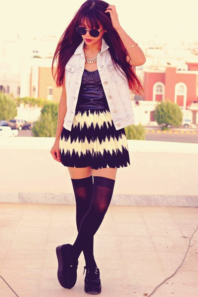 black zig zag print chicnovacom skirt - silver Motelrockscom jacket