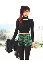 black leather Sheinside jacket - green Motel Rocks shorts