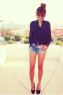 Black-round-romwe-glasses-blue-tie-dyed-topshop-shorts