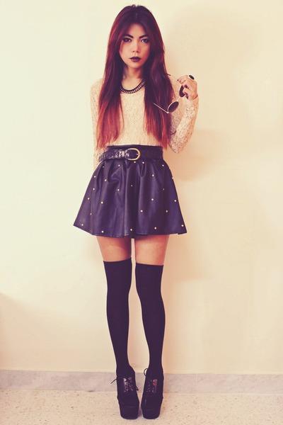 black studded leather Romwecom skirt - nude lace InLoveWithFashioncom top