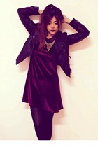black leather Sheinsidecom jacket - black creepers choiescom shoes