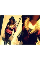 black fadora H&M hat - faux fur H&M sweater - stretchy H&M tights